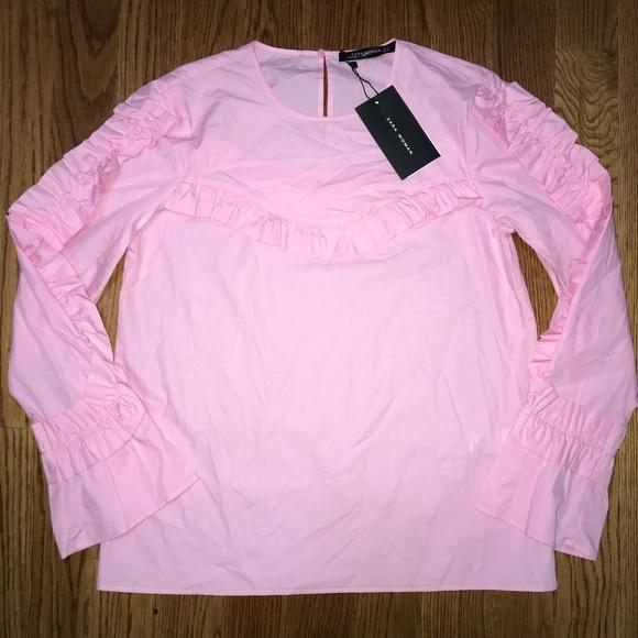 5ce90119 Zara Tops   Woman Pink Long Sleeve Ruffle Blouse Top Nwt   Poshmark